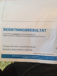 Besiktningsresultatpapper 2019 08 31