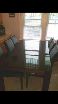 rectangular black wooden table with six chairs dining set Clifton, 07011