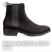 unpaired svart skinn side-zip boot Grimstad, 4879