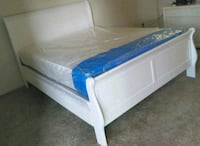 Brand New Full Size White Wood Sleigh Bed + Mattress Set Silver Spring, 20910