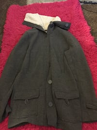 Grey button-up coat