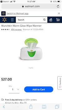 white and green Munchkin wipes warmer screenshot Uxbridge, 01569