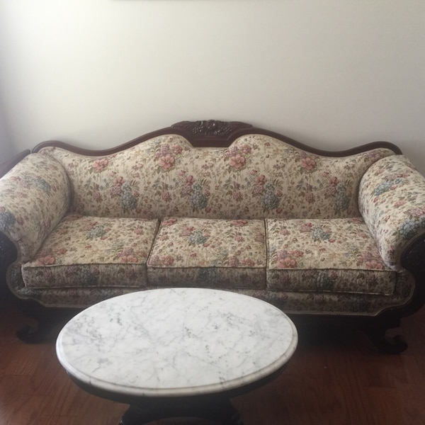 Used Victorian Style Sofa W Mahogany Wood For Sale In