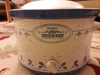 white and blue Rival Crock-Pot slow cooker