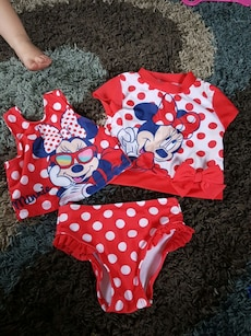 girl's red and white polka dots and minnie mouse print shirts