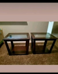 two square brown wooden framed glass top tables Houston, 77041