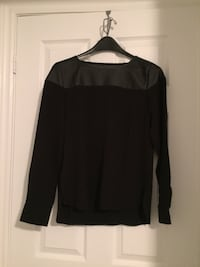 Small Black Blouse with Leather Shoulders
