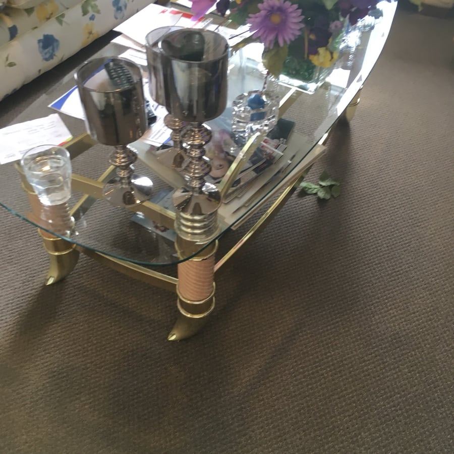 Glass and gold coffee table with matching end tables