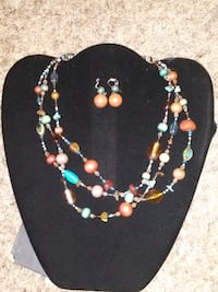 Multi-color necklace with matching earrings Houston