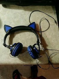 black and blue corded headset