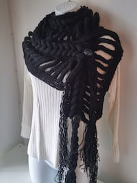 New Handmade knitted scarf with fringes, black Burnaby
