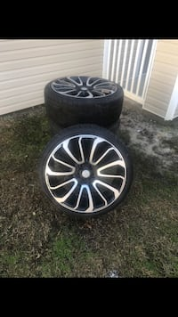 4- 22in Rims and 4 low pro tires - 265/35R22 for sale
