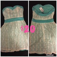 XS Lace Strapless Teal/Aqua Dress-Perfect for dance/church