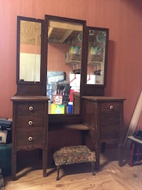 Brown wooden dresser with mirror and stool Port Neches, 77651
