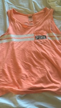 peach and white Pink by Victoria's Secret tank top