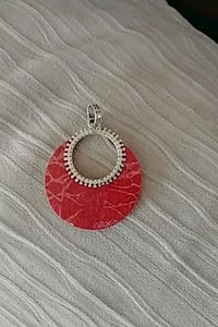 Red coral and sterling silver pendant Barrie, L4M 5B8