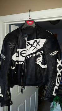 black and white leather racing jacket Dover, 17315