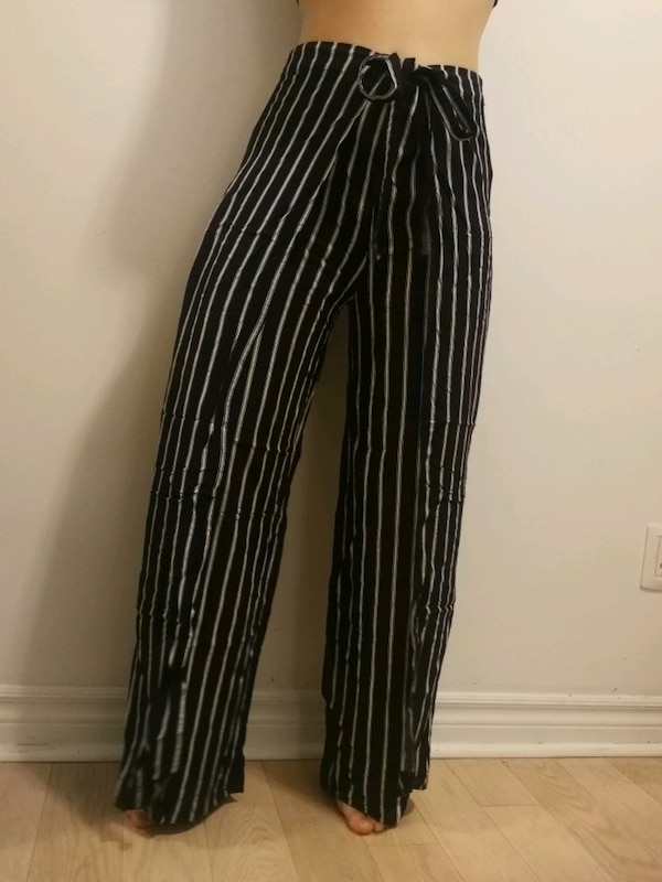 Striped pants with tie-up side panels 2f6498dd-19e5-4f59-8131-07d7afcdb7ea