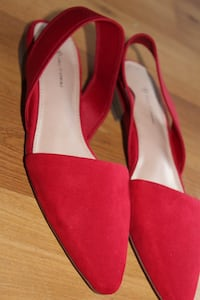 Red Flat Suede Sling Shoe.
