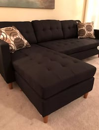 Black fabric sectional sofa with ottoman Silver Spring, 20902