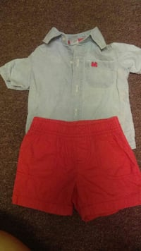 grey denim shirt with red shorts 2189 mi
