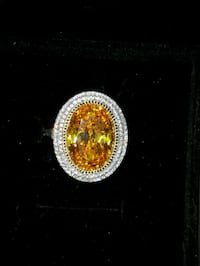 Handmade 5ct yellow topaz ring with double halo white sapphires. Size7 Richmond, V7C 4C1