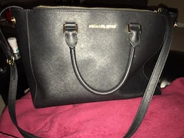 Black michael kors leather 2 way tote bag
