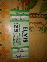 Elvis concert ticket for Aug 25th 1977 printed b4 aug 16th