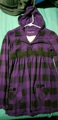 purple and black stripe hooded shirt 594 mi