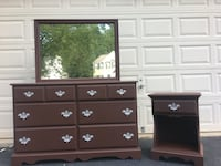 Solid Wood Long Dresser With Mirror and Nightstand Chocolate Brown With Silver Handles  48 km