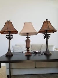 Three Palm Tree lamp set. 1 lamp alone at BBB is $69.00 each Carlsbad