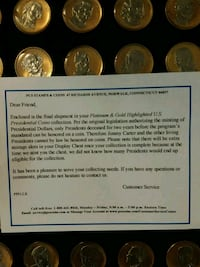 Complete set platinum and gold presidential coins Glade Hill, 24092