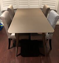 Glass Dining Table and Fabric Chairs
