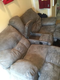Brown suede 3-seat recliner sofa 21 km