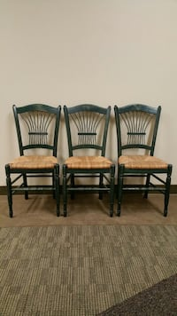 THREE (3) ITALIAN, ANTIQUED-GREEN WOOD & WICKER DINING CHAIRS - Price is for ALL THREE (3) CHAIRS TOGETHER . Arlington, 22204