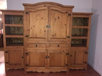 Mexican Rustic Pine Wood 3 Piece Entertainment Center