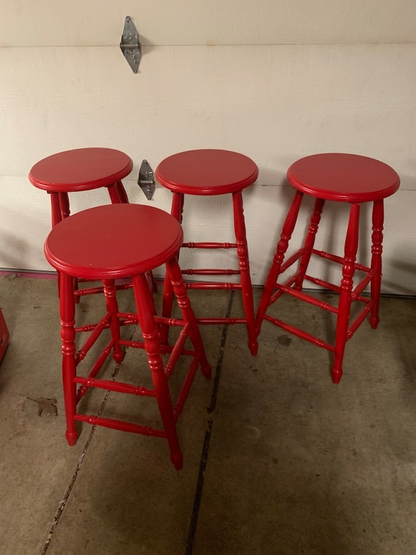 Awesome Four Red Wooden Bar Stools Theyellowbook Wood Chair Design Ideas Theyellowbookinfo