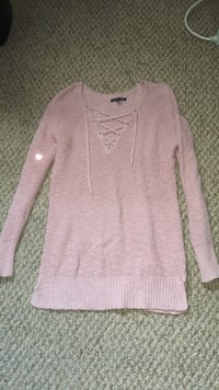 Pink Long Sleeve Deep-V Cut Sweater from American Eagle.  709 km
