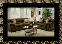 Chocolate fabric sofa and loveseat Suitland-Silver Hill