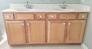 Natural Wood 2 Sink Bathroom Vanity
