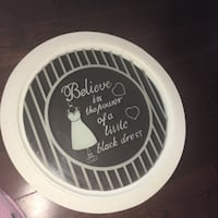 whtie and black Believe in the power of a little black dress printed plate
