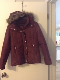 women's red and brown button-up parka jacket Saginaw, 48602