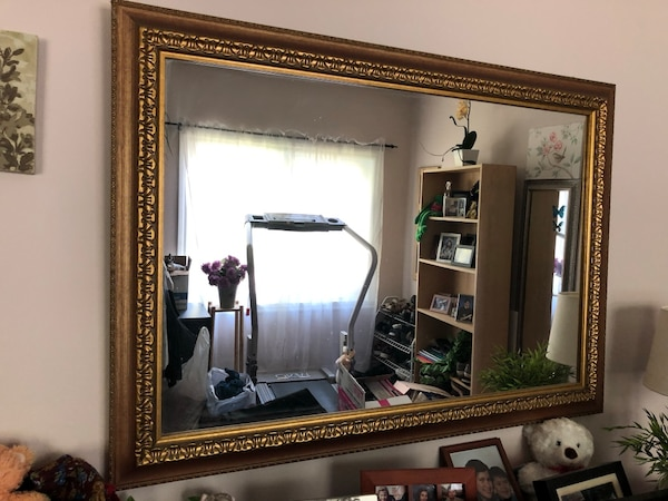 Big mirror with gold trim 41W X 29H