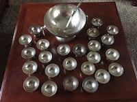 Vintage Antique Silver plated Punch Bowl Set with 24 Punch Cups and Large Footed Pedestal Punch Bowl with Handles and Ladle  Kennewick, 99337