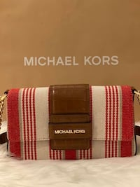 Michael Kors Sage Medium Striped Canvas Shoulder Bag
