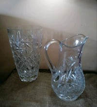 two clear cut glass vases Lantana, 33462