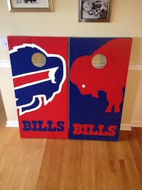 two red and blue wooden wall decors Lorain