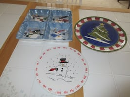 3 Christmas Serving Dishes/ Plates