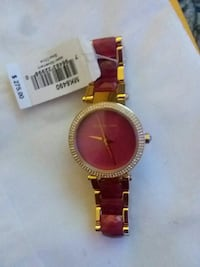 round gold analog watch with red link bracelet Anderson, 46012