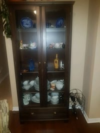 Ikea Hemnes display cabinet with drawer - brown